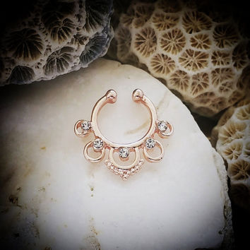 Tribal Fake Septum Ring | Sparkle Rose Gold Clip On Aztec Septum Piercing Faux Septum Ring Indian Nose Ring Septum Clicker Hoop Septum Cuff