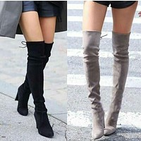 Women Winter Thigh High Suede Leather High Heels Lace up Female Over The Knee Boots