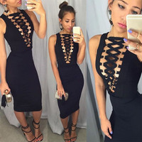 Black Laced Up Front Bodycon Dress