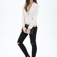 FOREVER 21 Contrast-Piped Henley Top Taupe/Black