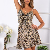 Sexy Womens Fashion Ladies Dress Fashion Ladies Open Leopard Splice Print Bow V-Neck Casual Dress Summer holiday Beachwear 2019
