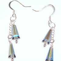 Elegant Artisan AB Bicone Dangle Earrings with Silver Chains and Ear Wires Perfect for Holidays and Gift Giving