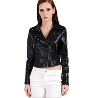 Women Faux Leather Jacket Pink Leather Biker Coats Outwear Slim Punk PU Jackets Short Design Cute Motorcycle