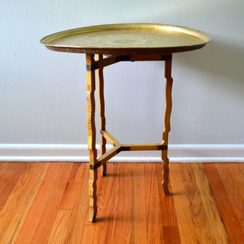 Vintage Moroccan Table, Folding Metal Tray Side Table, Mid Century 1960s Furniture, Wood Legs, Stand