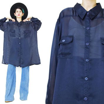 1990s Navy Blue Blouse Semi Sheer Blouse Vintage Womens Long Sleeve Shirt Button Down Oversized Slouchy Collared Shirt Chest Pockets (XL)