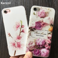 Kerzzil 3D Relief Plum blossom Roses Flowers Case For iPhone 7 6 6S Plus Soft Floral Cover For iPhone X 6 6S 8 Plus Capa