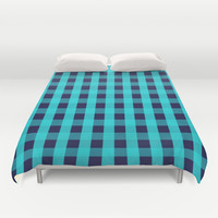 Plaid Flannel Navy Turquoise Duvet Cover by Beautiful Homes