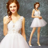 Sweet Lace Embroidery V-neck Elegant Bridal Dress