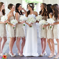 Aliexpress.com : Buy Champagne Lace Bridesmaid Dress, Short Lace Dress, Sexy Mini Lace Bridesmaid Dress Cocktail, Sexy Modest Lace Dress Cheap from Reliable dresses made suppliers on Fashion Streets