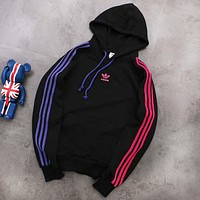 ADIDAS Classic Trending Stylish Print Hoodie Velvet Sweater Top Sweatshirt Black