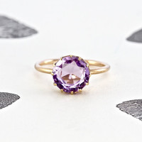 Victorian Amethyst Solitaire Ring, Antique 10k Rose Gold, Bohemian Alternative Engagement Cocktail Ring February Birthstone Anniversary Gift