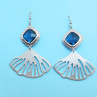 Fan, Earrings, Blue, Sapphire, Shell, Earrings, Unique, Earrings, Modern, Cute, Earrings, Gift, Earrings, Christmas, Earrings, Jewelry