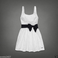 New Sexy Abercrombie & Fitch A&F White Cotton Alicia Eyelet Summer Dress