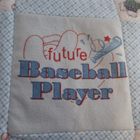 Future Baseball Player Quilt, Baby Boy Baseball Blanket, Red and Blue Nursery, Upycle Baby Clothes