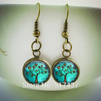 HE67 Silver Fish hook Copper Tree Earrings Charms. Art. Picture Charm. Tree of life earring. Handmade Jewelry. Jewellery