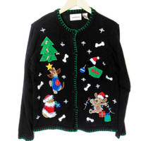 Gone To The Dogs Tacky Ugly Christmas Sweater
