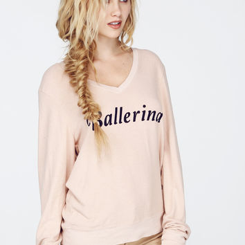 BALLERINA VNECK BAGGY BEACH JUMPER at Wildfox Couture in  BABY, DAISY