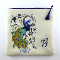 Personalized Gift,Personalized Embroidered Linen Cosmetic Bag with Tassel,Personalized Womens Clutch,Fabric Clutch,Embroidered peacock
