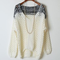 Fanewant — CONTRAST COLOR FASHION HOLLOW OUT SWEATER