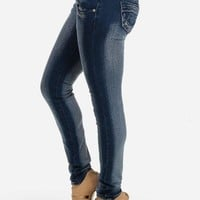 Dark Washed Low Rise Skinny Jeans