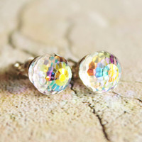 Super Sparkler Post,Swarovski Crystal Rainbow Stud Earrings,Sterling Silver,Bridal,Petite,Swar­ovski Rainbow Earrings,Bridesmaids,Fire­ball