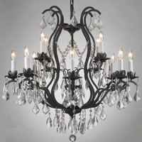 "Wrought Iron Crystal Chandelier Lighting Chandeliers H30"" x W28"""