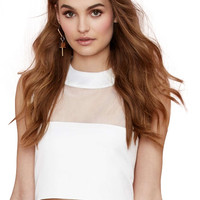 White Sleeveless Mesh Upper Cropped Top