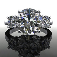 Three Stone Round Forever Brilliant Moissanite Engagement Ring or Anniversary Ring 4 CTW