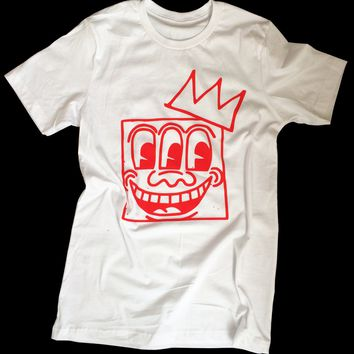 K. Haring - Basquiat Mashup Unisex Graphic T-shirt 3 Eyes Crown Tee by American Anarchy Brand (white)