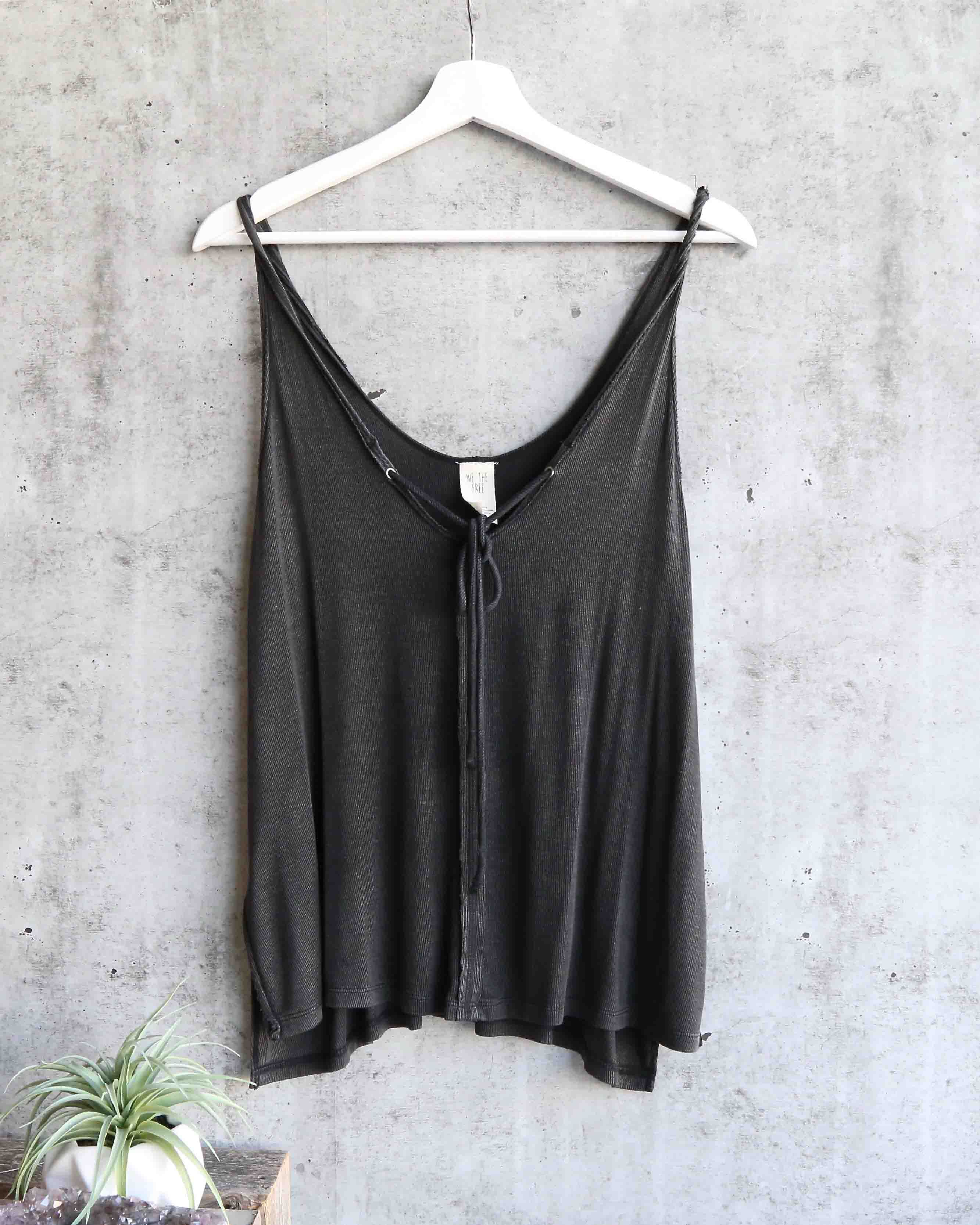 Image of Free People - Scarlett Tank in Washed Black