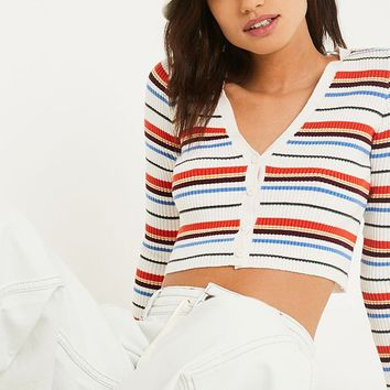 UO Placement Stripe Crop Cardigan | Urban Outfitters