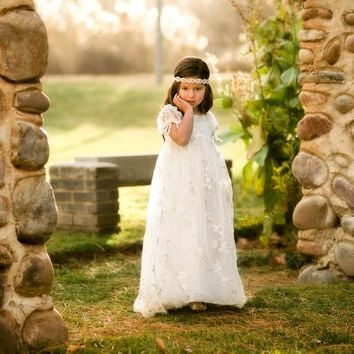 White Lace and Gold Accent Chloris Gown Dress