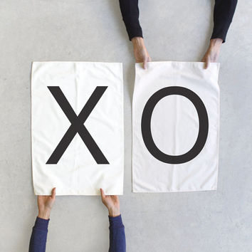 Tea towel set - XO towels - Modern Love - wedding gift / couples gift - modern typography towel set - Valentines Day