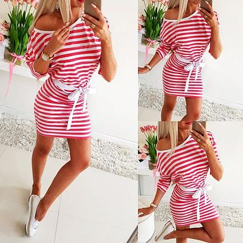 2020 new women's red and white printed striped dress