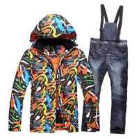 New Color Printed Snow Ski Suit Men Sets Windproof Breathable Thicken Down Jackets For Men Snow Skiing Jacket+Pants Warm Clothes