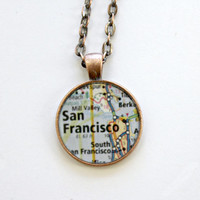 San Francisco California Map Necklace with 24 inch Chain or Keychain Option Includes Gift Box
