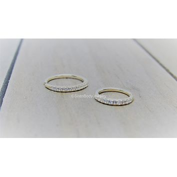 20g-18g 14k Yellow Gold seam ring paved 2mm Swarovski gemstones solid gold hoop nose ear lip ring