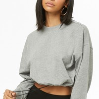 Heathered Drawstring-Hem Pullover