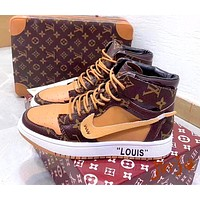 LV x Nike co-branded new fashion trend high-top casual sports shoes
