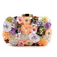 Evening bag unique wallet Fashion Pink sequins Beaded Clutch high-grade beaded flower