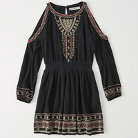 Womens Embroidered Cold-Shoulder Dress | Womens New Arrivals | Abercrombie.com