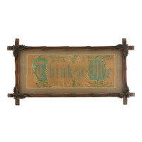 Victorian Embroidery Punch Paper Think of Me Motto 1800s Adirondack Leaf Wood Frame Christmas in July SALE!