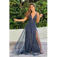 Steel V-Neck Tulle Maxi Dress with Criss Cross Back