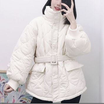 Ladies' new style hot sale casual belt style stand-up collar crimping all-match cotton jacket
