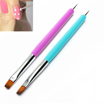 Hot 2016 New Arrival Promotion 2-Ways Nail Art Pen Painting Dotting Acrylic UV Gel Polish Brush Liners Tool
