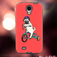 MC42Z,4,Funny,Animal,Dog,Pug,Riding -Accessories case cellphone- Design for Samsung Galaxy S5 - Black case - Material Soft Rubber