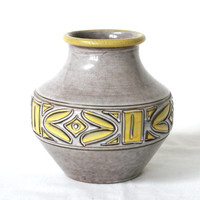 ITALIAN Ceramic Vase, Bitossi, Yellow and White Glaze, Graphic Design, Handcrafted Italian Vase, Made in Italy, Mid Century Modern
