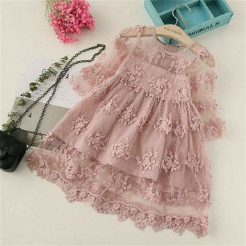 US Newborn Kid Baby Girl Flower Dress Lace Tulle Party Bridesmaid Princess Dress