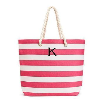 Extra Large Wide Stripe Cabana Tote - Pink (Pack of 1)