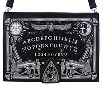 Ouija Board Black Hand Bag Purse Spirit Planchette Occult